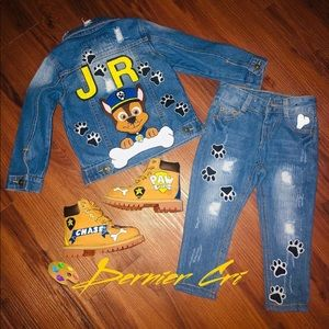 Custom hand painted 2 piece denim outfit and boots